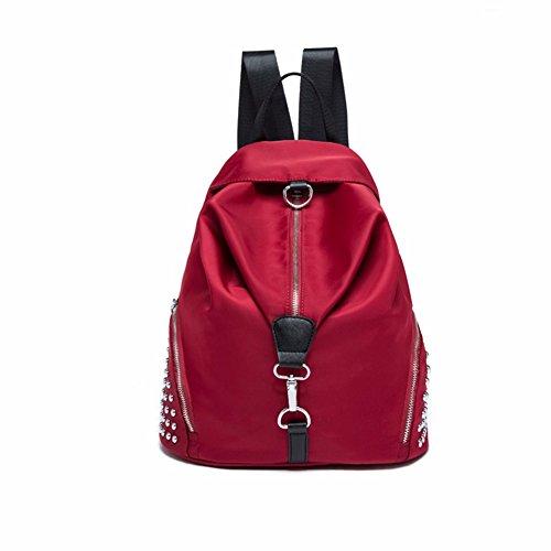De Lona Libre JIUSHIGUANG Bolsos Femenino De Aire Oxford Rojo Viaje De Moda del Oxford Bolso Mochila 32 36Cm La Ocio 18 Al Bolso La Impermeable De De Remache xZqT1
