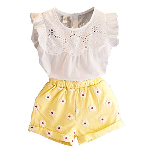 7b0aad2ebe4 2PCS Set Toddler Kids Baby Girls Outfits Clothes T-Shirt Vest Tops+Shorts  Pants