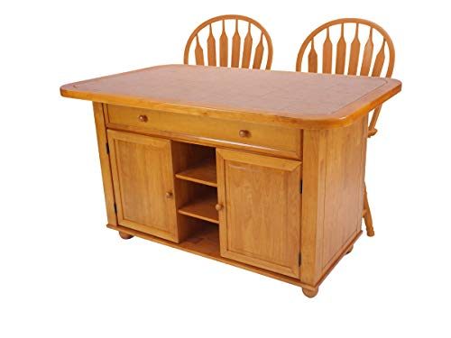 - Sunset Trading CY-KITT02-B24-LO3PC Sunset Oak Selections Kitchen Island Set, Light