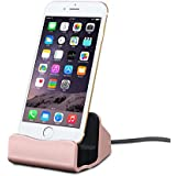 Efanr iPhone Charger Dock, Aluminum Charge Data Sync Desktop Stand Charging Cradle Dock Station Holder with Lightning Cable Connector for iPhone 7 7 Plus SE 6S 6 6S Plus 6 Plus 5s 5 5c (Rose Gold)