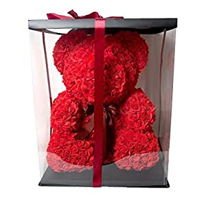"""Fancy Supplies 16"""" Teddy Bear Forever Roses Artificial Rose Anniversary Christmas Valentines Gift Red Pink White Blue (16"""", One Bear + Acrylic Box) 51"""