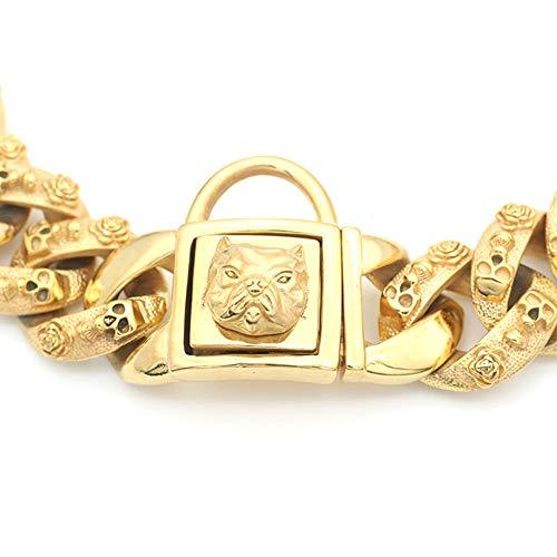 MUJING 30 mm Wide Hip Hop Gold Tone Cut Curb Cuban Link 316L Stainless Steel Dog Choke Chain Collar 40-70 cm,XXXL by MUJING (Image #1)