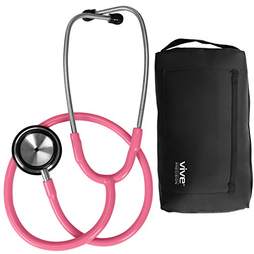 Vive Precision Stethoscope [Pink] Dual Head Diaphragm Bell for Nurses, Cardiology, Veterinary, Fetal Pediatrics Blood Pressure Kit - Double Barrel Device for Doctors, Nurses, Students