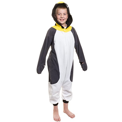 Child Plush Penguin Costumes (Silver Lilly Kids Penguin Animal Costume - Childrens Plush One Piece Pajamas (T))