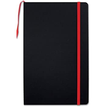 """BookFactory Black Journal / Writing Notebook / Blank Diary / Lined Pages Book - 192 Pages, 5.25"""" x 8.27, Banded Journal, Hardbound, Bookmark (JOU-192-CCS-K)"""