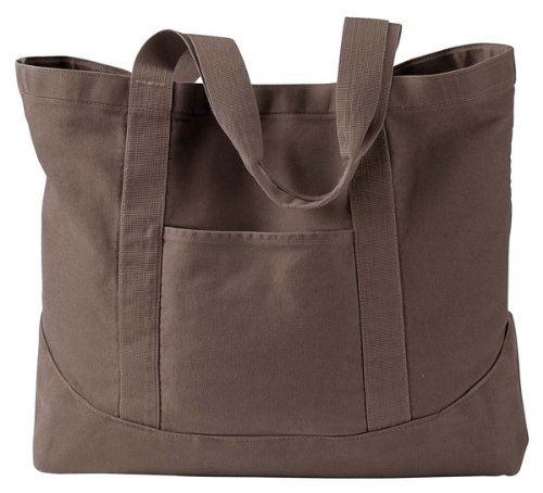 Authentic Pigment - 14 oz. Pigment-Dyed Large Canvas Tote >> One size,JAVA ()