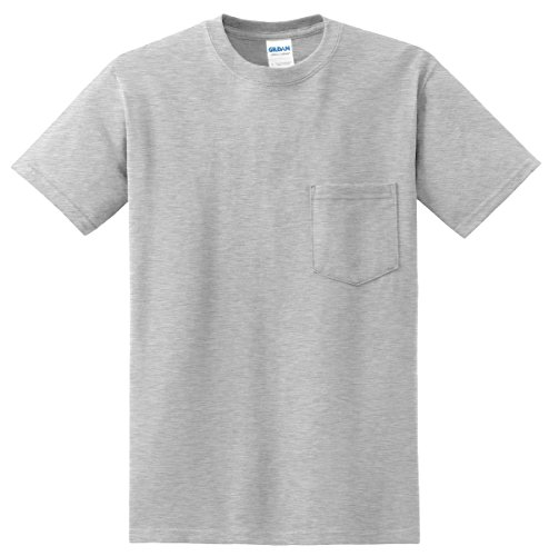 Gildan Men's Dry Blend Moisture Wicking Pocket T-Shirt, Large, Ash - Blend Cotton Dry Double