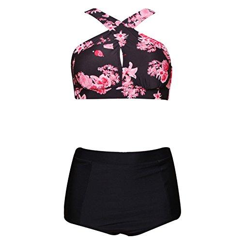 High Waist Plus Size Swimwear For Women Tribal Floral Large Bikini Set-FLOWER2 (Figure Bikini)
