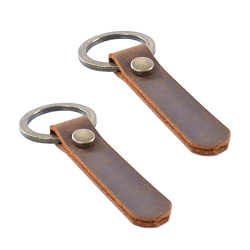 Jzcky Shzrp 2-Pack Simple Retro Leather Key Chain Key Holder Key Ring Organizer(PT100) (Small Leather Keychain)