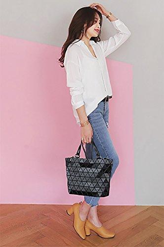 Strap Laser Shoulder Color Coolives Women Gradient Black Purple Bag Top Long Handle Tote qwwXZY
