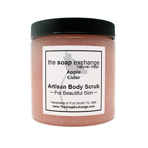 gar Body Scrub - Apple Cider Scent - Hand Crafted 8 fl oz/240 ml Natural Artisan Skin Care, Shea Butter, Exfoliate, Moisturize, Protect. Made in the USA. (8 Round Deep Olive)