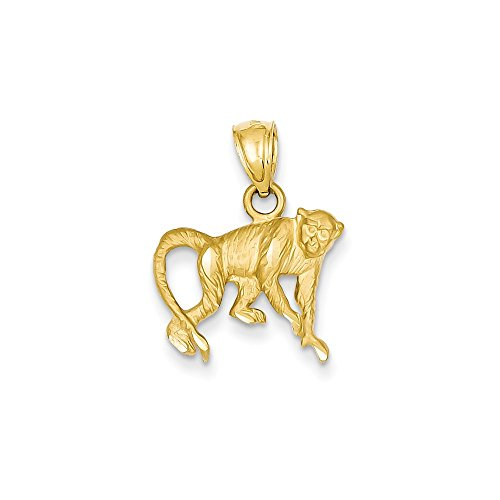 14K Diamond-cut Monkey Pendant, 14 kt Yellow Gold 14k Yellow Gold Monkey Pendant