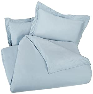 AmazonBasics Microfiber Duvet Cover Set - King, Spa Blue
