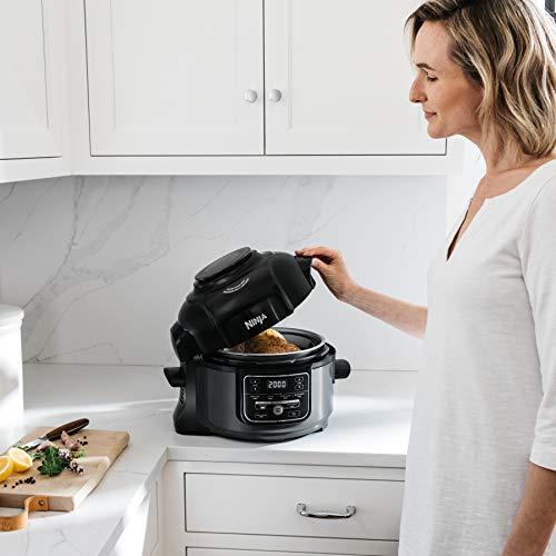 Ninja Foodi 7-in-1 Programmable Pressure Fryer, Slow Multi Cooker with TenderCrisp Technology, 5 Pot, 3-qt. Air Fry Basket OP101 , 5-Quart, Black Gray