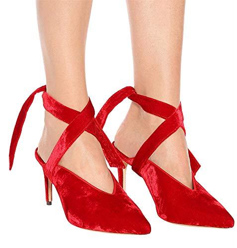 Pour À Sandales Chaussures 42 Talons Femme Rouge Femmes Yojdtd TZ17n