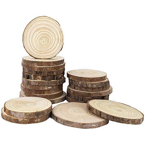 CEWOR 20pcs 3.5-4 Pure Natural Unfinished Wood Slices DIY Handmade Wedding Craft Ornaments