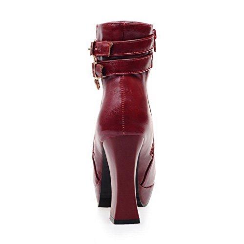 AllhqFashion Damen Rund Zehe Hoher Absatz Blend-Materialien Niedrig-Spitze Rein Stiefel Weinrot
