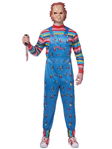 Chucky Costume For Adults (Costume Culture Men's Licensed Chucky Costume, Blue,)