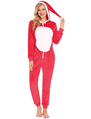 Ekouaer Adult Onesie Pajamas Women Christmas Hooded Plush An