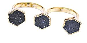 SONIA HOU Triple Ring, Two Finger Ring Featuring Druzy Gemstone Electroplated in 24K Gold, Blue Hexagon