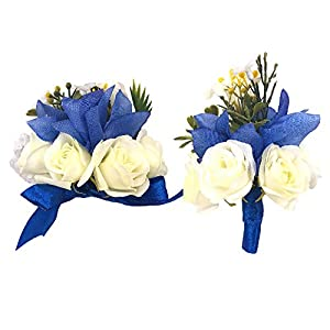 Abbie Home Wedding Wrist Corsage Boutonniere Set Brooch Pin for Suit Party Prom Hand Flower Décor 83