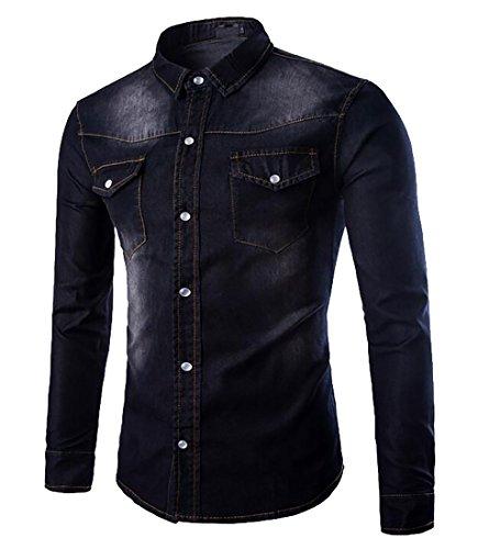 WSPLYSPJY Mens Slim Fit Medium Wash Denim Spandex Button Down Shirts Black ()