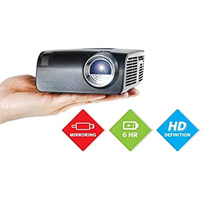 AAXA Mini LED Projector  USBC Smartphone Laptop Mirroring  Hour Built-in Battery  720p Native Resolution  Support 1080p  Portable Projector  HDMI  Onboard Media Player  DLP  400 Lumens