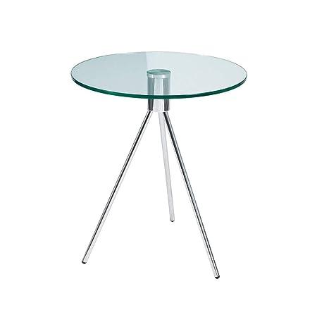 YNN Table 50x58cm Redonda Mesa de café de Cristal Templado Sala de ...