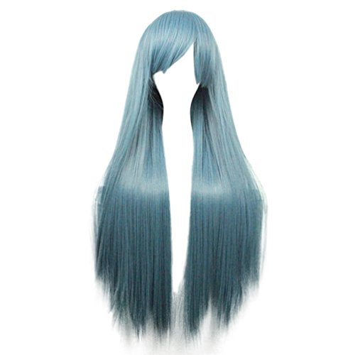 Rise World Wig 80cm Two Tone Long Straight Anime Cosplay Wigs Costume Party Hair Wig(Dark (Celebrity Costumes Wigs)