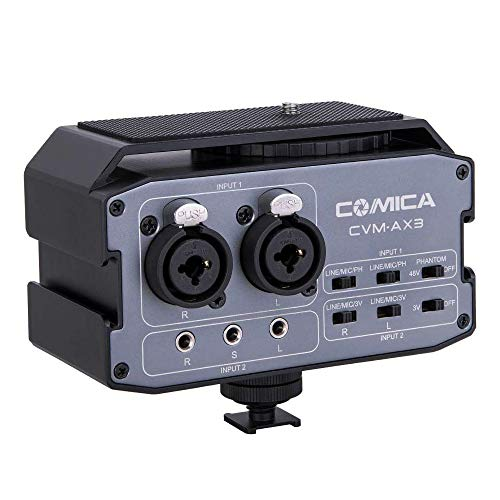Comica CVM-AX3 Audio Mixer Adapter with 3.5mm/XLR/6.35mm Inputs&Stereo/Mono Output Switch