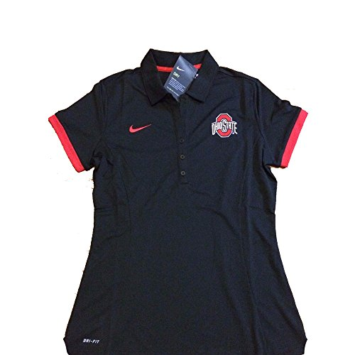 Nike Ohio State Buckeyes 2017 Women's Medium Polo Shirt Black Red DRI-FIT