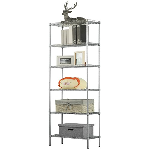 (LANGRIA 6 Tier Wire Shelving Unit Organization and Storage Rack with 5 Hooks,Silver)