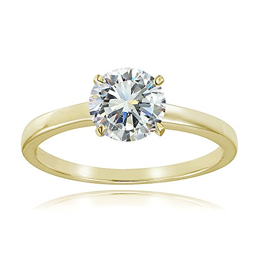 (Yellow Gold Flash Sterling Silver 1ct Cubic Zirconia 6.5mm Round Solitaire Ring)