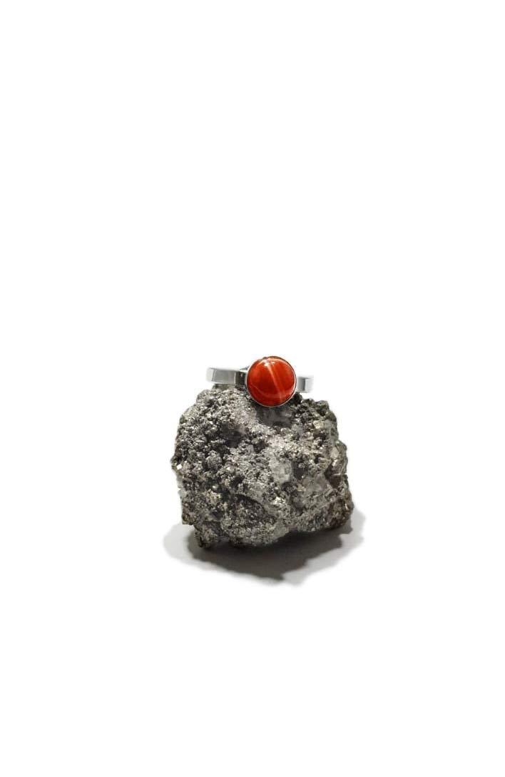 Anillo de Plata 925 con Cornalina (Piedra Natural) 8mm