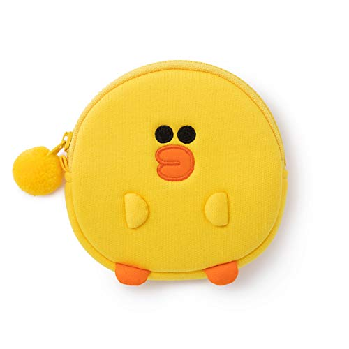 (LINE FRIENDS Coin Purse - SALLY Character Cotton Money Organizer Bag Charm Keychain, Yellow)