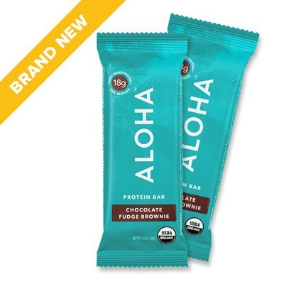 ALOHA Organic Protein Bar, Chocolate Fudge Brownie, 12 Count (Packaging May Vary)