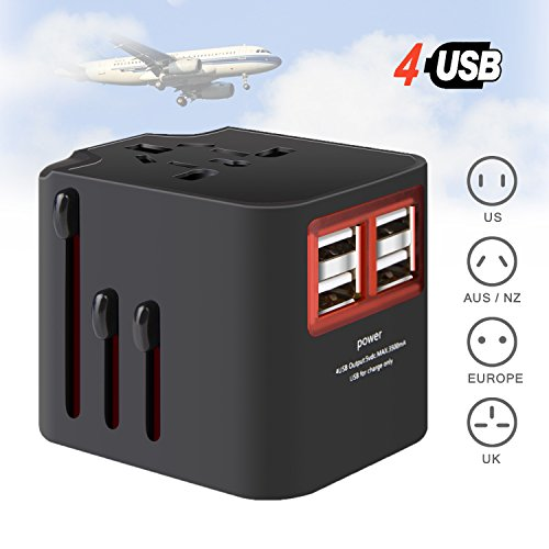 SLMASK Universal Travel Adapter, International Plug Adapter Worldwide Travel Power Adapter with 4 Smart Charging USB Ports, Wall Charger AC power Outlet Adapter Plugs for USA EU UK AUS Asia