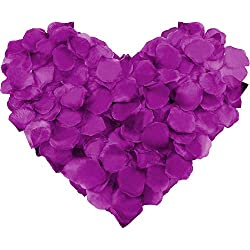 Leinuosen 4000 Pieces Silk Rose Petals Artificial Flower Petals for Wedding Valentine Day Home Party Vase Decor Wedding Bridal Flowers Decoration (Darkpurple)