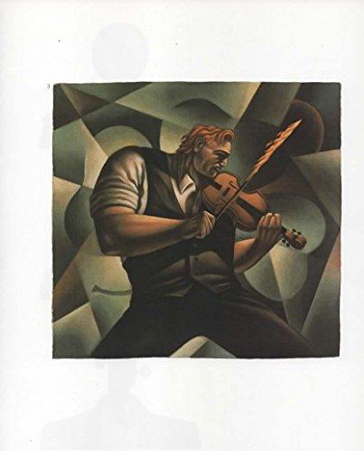 Magazine Print: 1993 Illustration by Artist Mike Benny, Fiddler on Fire, celebration poster for 'Shanley's Irish Music Festival', reproduction