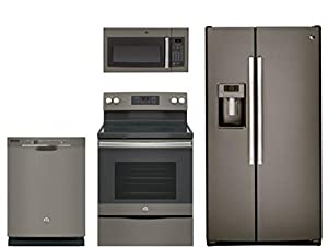 """GE 4 Piece Kitchen package With JB645EKES 30"""" Electric Range, JVM3160EFES Over The Range Microwave Oven, GSS25GMHES 36"""" Side By Side Refrigerator and GDF610PMJES 24"""" Built In Dishwasher In Slate"""