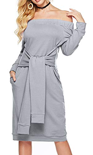 Sarin Mathews Womens Sexy Off The Shoulder Party Dress with Belt Casual Long Sleeve Loose Dresses with Pockets