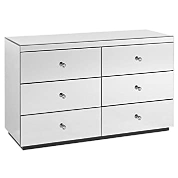 separation shoes 4faa6 5b18e NEW VENETIAN MIRRORED GLASS 6 DRAWER WIDE CHEST OF DRAWERS - 3+3 CHEST  BEVELLED