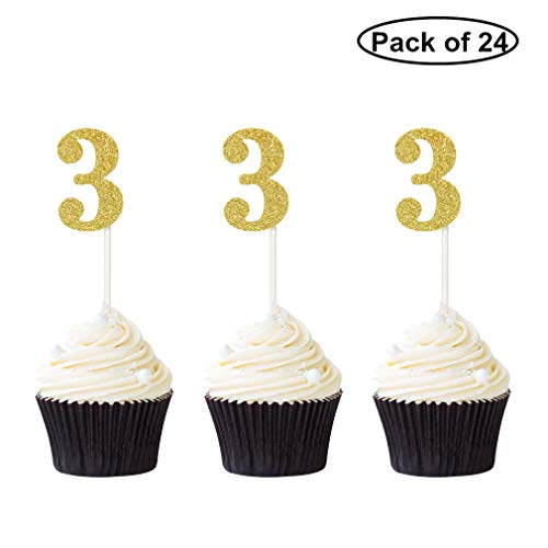 Pack of 24 Number 3 Cupcake Toppers Gold Glitter 3rd Birthday Caupcake Picks Anniversary Party
