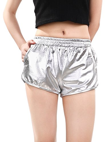 Skylety Metallic Shiny Shorts Women Sparkly Hot Shorts Girl Yoga Outfit Casual Loose Shorts (S Size, Silver)