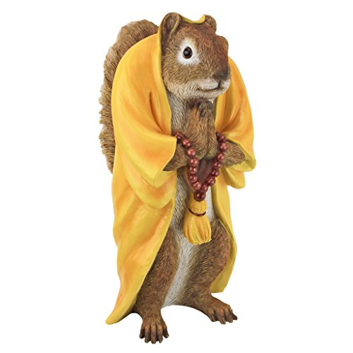 Design Toscano QM17041 Sensei Monk Zen Garden Squirrel Animal Statue Outdoor, One Size, multi-color