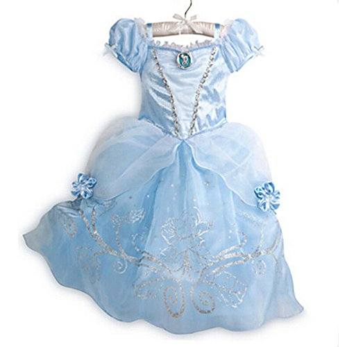 [Z.D New Cinderella Princess Dress cosply Costume Girls Party Dresses] (Cinderella Dress Up)