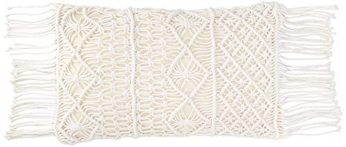 Essential Nik Naks Macrame Lumbar Cushion Pillow Cover - %100 Cotton Hypoallergenic Materials - Handmade Knotted Beige Cream Zipper Tassel - Bohemian Farmhouse Style Couch Pillow Bed Throw (20, 12) (Lumbar Pillow Textured)