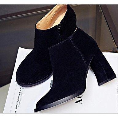 Per Quadrato Fucsia Autunno Scarpe Stivaletti Pelle Nero Da donna black Casual Stivali Inverno Vino 6WnAP4T