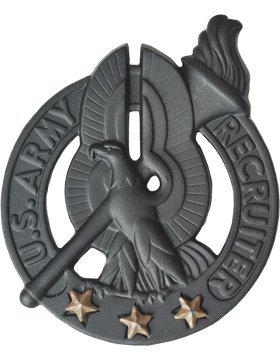 BM-896, Army Recruiter Black with 3 BROWN Stars, Black Metal BLACK METAL