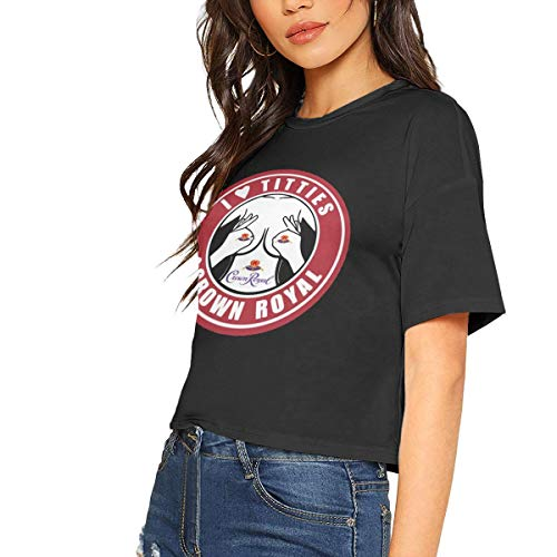 Price comparison product image I Love Titties and Crown Royal Whiskey Sexy Exposed Navel Female T-Shirt Bare Midriff Crop Top T Shirts Black